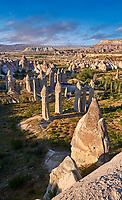 "Pictures & images of the fairy chimney rock formations and rock pillars of ""love Valley"" near Goreme, Cappadocia, Nevsehir, Turkey"