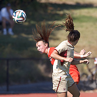 NCAA Division I. Clemson University (orange) defeated Boston College (gold), 1-0, on Gordon Field at Brandeis University, on September 28, 2014.