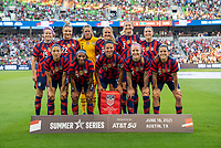 AUSTIN, TX - JUNE 16: The USWNT poses for their starting XI photo before a game between Nigeria and USWNT at Q2 Stadium on June 16, 2021 in Austin, Texas.