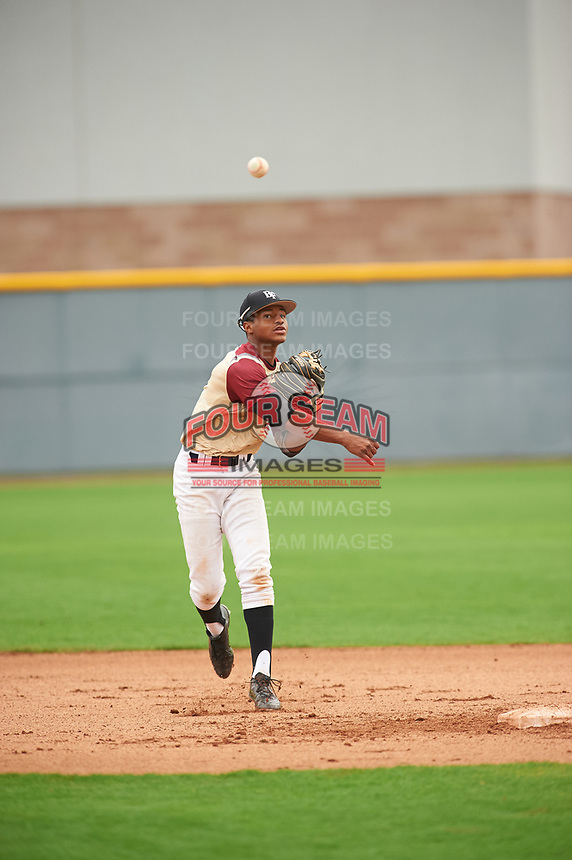 Xavier Edwards (1) of North Broward Prep High School in Wellington, Florida during the Under Armour All-American Pre-Season Tournament presented by Baseball Factory on January 15, 2017 at Sloan Park in Mesa, Arizona.  (Zac Lucy/MJP/Four Seam Images)
