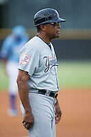 Pulaski Yankees manager Tony Franklin (18) coaches third base during the game against the Burlington Royals at Burlington Athletic Park on August 6, 2015 in Burlington, North Carolina.  The Royals defeated the Yankees 1-0. (Brian Westerholt/Four Seam Images)