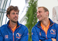 Moscow, Russia, 14 th July, 2016, Tennis,  Davis Cup Russia-Netherlands, Start of the draw, Dutch team members Thiemo De Bakker (NED) and Robin Haase (NED) (L)<br /> Photo: Henk Koster/tennisimages.com