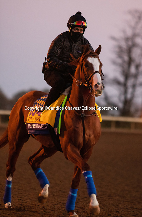 Improbable, trained by trainer Bob Baffert, exercises in preparation for the Breeders' Cup Classic at Keeneland Racetrack in Lexington, Kentucky on November 4, 2020.