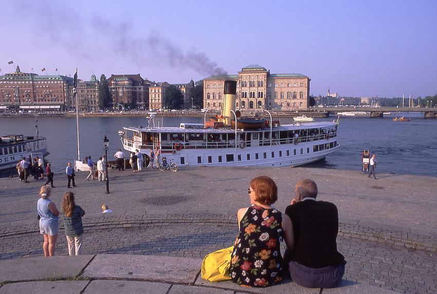 Europe, SWE, Sweden, Stockholm, Skeppsbrokkajen, Typical Steamer, Landing place, Tourists