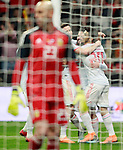 Spain's Saul Niguez, Isco Alarcon and Marco Asensio celebrate goal during international friendly match. March 27,2018.(ALTERPHOTOS/Acero)