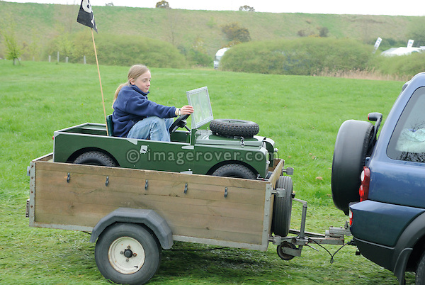 Going in a toy Land Rover to the Gaydon Heritage Land Rover Show 2006. Europe, England, UK. --- No releases available. Automotive trademarks are the property of the trademark holder, authorization may be needed for some uses.