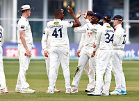 Miguel Cummins of Kent is congratulated by Tawanda Muyeye after taking the wicket of Rob Keogh during Kent CCC vs Northamptonshire CCC, LV Insurance County Championship Group 3 Cricket at The Spitfire Ground on 6th June 2021