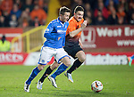 Dundee United v St Johnstone...12.03.14    SPFL<br /> Chris Millar and Paul Paton<br /> Picture by Graeme Hart.<br /> Copyright Perthshire Picture Agency<br /> Tel: 01738 623350  Mobile: 07990 594431
