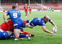 Photo: Richard Lane/Richard Lane Photography. Crusaders v Hull KR. Engage Super League. 09/07/2011. KR's Michael Dobson dives in for a late try.