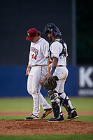 Mahoning Valley Scrappers pitcher Brian Eichhorn (44) catcher Eric Rodriguez (10) during a NY-Penn League game against the Hudson Valley Renegades on July 15, 2019 at Eastwood Field in Niles, Ohio.  Mahoning Valley defeated Hudson Valley 6-5.  (Mike Janes/Four Seam Images)
