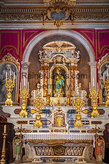 Frankreich, Provence-Alpes-Côte d'Azur, Menton: Chapelle de l'Immaculée-Conception - innen - Marienaltar   France, Provence-Alpes-Côte d'Azur, Menton: Chapelle de l'Immaculée-Conception - interior - altar with Blessed Virgin Mary