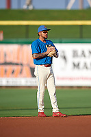Philadelphia Phillies shortstop J.P. Crawford (43) during a game against the Fort Myers Miracle while on rehab assignment with the Clearwater Threshers on May 31, 2018 at Spectrum Field in Clearwater, Florida.  Clearwater defeated Fort Myers 5-1.  (Mike Janes/Four Seam Images)