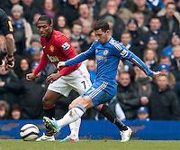 Eden Hazard of Chelsea and Antonio Valencia of Manchester United
