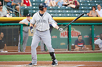 Justin Smoak (22) of the Tacoma Rainiers at bat against the Salt Lake Bees in Pacific Coast League action at Smith's Ballpark on July 8, 2014 in Salt Lake City, Utah.  (Stephen Smith/Four Seam Images)