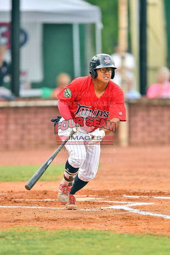 Elizabethton Twins left fielder Lean Marrero (39) swings at a pitch during game two of the Appalachian League Championship Series against the Princeton Rays at Joe O'Brien Field on September 5, 2018 in Elizabethton, Tennessee. The Twins defeated the Rays 2-1 to win the Appalachian League Championship. (Tony Farlow/Four Seam Images)
