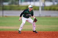 Dartmouth Big Green second baseman Sean Sullivan (4) during a game against the Southern Maine Huskies on March 23, 2017 at Lake Myrtle Park in Auburndale, Florida.  Dartmouth defeated Southern Maine 9-1.  (Mike Janes/Four Seam Images)