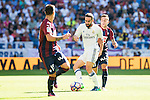 Real Madrid's player Daniel Carvajal and Eibar FC's player Ruben Peña Jimenez and Mauro Dos Santos during a match of La Liga Santander at Santiago Bernabeu Stadium in Madrid. October 02, Spain. 2016. (ALTERPHOTOS/BorjaB.Hojas)