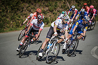 eventual winner Julian ALAPHILIPPE (FRA/Deceuninck-Quick Step), flanked by Fernando Gaviria (COL/UAE-Emirates) & Alejandro Valverde (ESP/Movistar) decending from the Passo del Turchino<br /> <br /> 110th Milano-Sanremo 2019 (ITA)<br /> One day race from Milano to Sanremo (291km)<br /> <br /> ©kramon