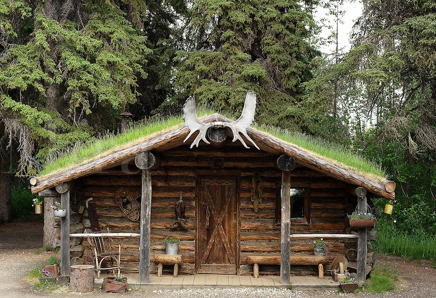 Traditional cabin, Athabascan, Chena Indian Village, Alaska