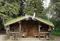 Traditional cabin, Athabascan, Chena Indian Village, Alaska