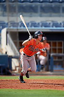 Baltimore Orioles T.J. Nichting (71) follows through on a swing during a Florida Instructional League game against the Tampa Bay Rays on October 1, 2018 at the Charlotte Sports Park in Port Charlotte, Florida.  (Mike Janes/Four Seam Images)