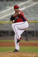 Potomac Nationals pitcher Francys Peguero (38) during a Carolina League game against the Myrtle Beach Pelicans on August 14, 2019 at Northwest Federal Field at Pfitzner Stadium in Woodbridge, Virginia.  Potomac defeated Myrtle Beach 7-0.  (Mike Janes/Four Seam Images)