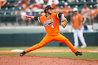 Oklahoma State Cowboys pitcher Brendan McCurry #4 delivers a pitch to the plate during the NCAA baseball game against the Texas Longhorns on April 26, 2014 at UFCU Disch–Falk Field in Austin, Texas. The Cowboys defeated the Longhorns 2-1. (Andrew Woolley/Four Seam Images)