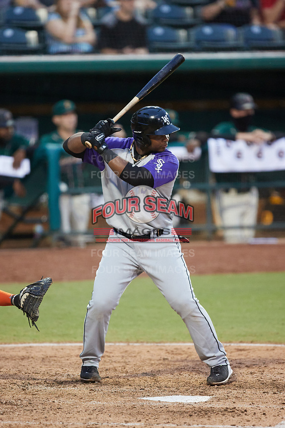 Lazaro Leal (30) of the Winston-Salem Dash at bat against the Greensboro Grasshoppers at First National Bank Field on June 3, 2021 in Greensboro, North Carolina. (Brian Westerholt/Four Seam Images)