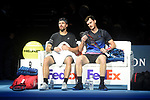 Jamie Murray and Bruno Soares in action in their semi final match against Mike Bryan and Jack Sock<br /> <br /> Photographer Hannah Fountain/CameraSport<br /> <br /> International Tennis - Nitto ATP World Tour Finals Day 7 - O2 Arena - London - Saturday 17th November 2018<br /> <br /> World Copyright © 2018 CameraSport. All rights reserved. 43 Linden Ave. Countesthorpe. Leicester. England. LE8 5PG - Tel: +44 (0) 116 277 4147 - admin@camerasport.com - www.camerasport.com