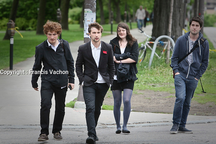 CLASSE spokesperson Gabriel Nadeau Dubois, second form the left, arrives at a meeting with Quebec education Minister Michelle Courchesne in Quebec City Tuesday May 29, 2012. The students and the Quebec government meet for the second day in a row to try to solve a strike over tuition fee that goes for more than 100 days.<br /> <br /> PHOTO :  Francis Vachon - Agence Quebec Presse