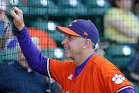 Head coach Jack Leggett (7) of the Clemson Tigers before in a game against the Furman Paladins on Wednesday, May 8, 2013, at Fluor Field at the West End in Greenville, South Carolina. (Tom Priddy/Four Seam Images)