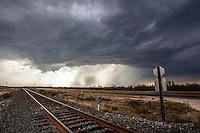Severe Thunderstorm Above Railroad Track near Del Rio, TX, May 10, 2013