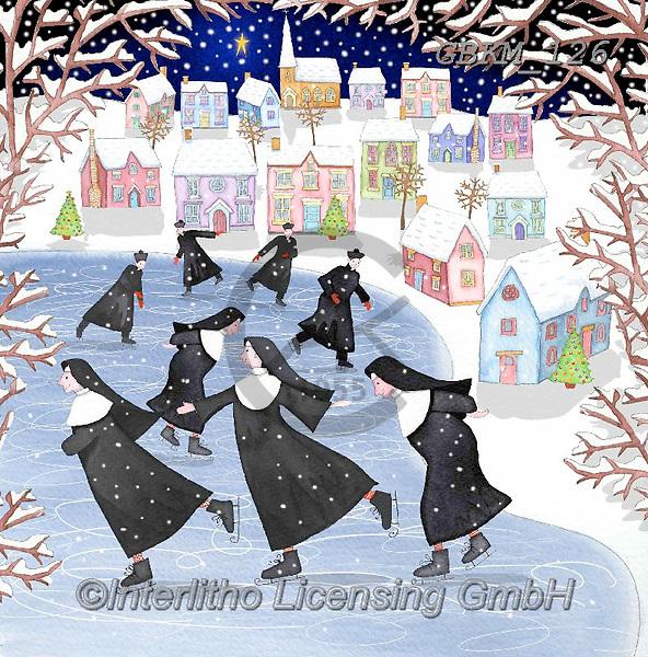 Kate, CHRISTMAS SYMBOLS, WEIHNACHTEN SYMBOLE, NAVIDAD SÍMBOLOS, paintings+++++Christmas page 102,GBKM126,#xl#,nuns,skating ,winterlandscape