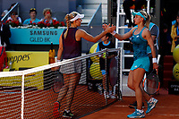 Lesia Tsurenko of Ukraine and Angelique Kerber of Germany during day two of the Mutua Madrid Open at La Caja Magica on May 05, 2019 in Madrid, Spain. /NortePhoto.com