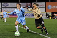 Julianne Sitch (38) of Sky Blue FC is chased by Tiffeny Milbrett (15) of FC Gold Pride. Sky Blue FC and FC Gold Pride played to a 1-1 tie during a Women's Professional Soccer match at TD Bank Ballpark in Bridgewater, NJ, on April 11, 2009.