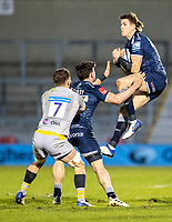 27th December 2020; AJ Bell Stadium, Salford, Lancashire, England; English Premiership Rugby, Sale Sharks versus Wasps; Sam James of Sale Sharks wins the high ball