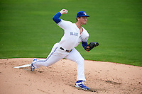 Dunedin Blue Jays pitcher Sean Reid-Foley (4) delivers a pitch during the first game of a doubleheader against the Palm Beach Cardinals on August 2, 2015 at Florida Auto Exchange Stadium in Dunedin, Florida.  Palm Beach defeated Dunedin 4-1.  (Mike Janes/Four Seam Images)