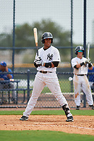 GCL Yankees East first baseman Lisandro Blanco (14) at bat during the second game of a doubleheader against the GCL Blue Jays on July 24, 2017 at the Yankees Minor League Complex in Tampa, Florida.  GCL Yankees East defeated the GCL Blue Jays 7-3.  (Mike Janes/Four Seam Images)