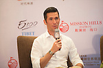 Luis Garcia speaks during the Football Players Press Conference on the sidelines of the World Celebrity Pro-Am 2016 Mission Hills China Golf Tournament on 22 October 2016, in Haikou, China. Photo by Weixiang Lim / Power Sport Images