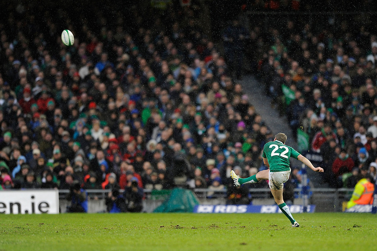 Ronan O'Gara of Ireland kicked two penalties after coming on as a substitute for Jonathan Sexton of Ireland during the RBS 6 Nations match between Ireland and England at the Aviva Stadium, Dublin on Sunday 10 February 2013 (Photo by Rob Munro)