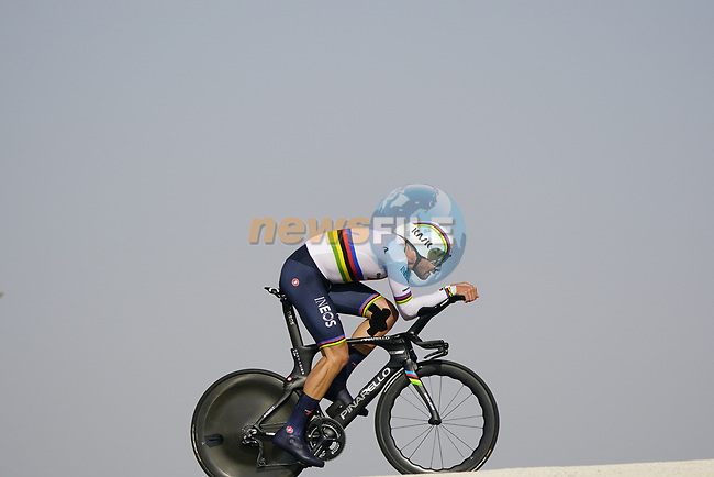 World Champion Filippo Ganna (ITA) Ineos Grenadiers during Stage 2 of the 2021 UAE Tour an individual time trial running 13km around  Al Hudayriyat Island, Abu Dhabi, UAE. 22nd February 2021.  <br /> Picture: Eoin Clarke | Cyclefile<br /> <br /> All photos usage must carry mandatory copyright credit (© Cyclefile | Eoin Clarke)
