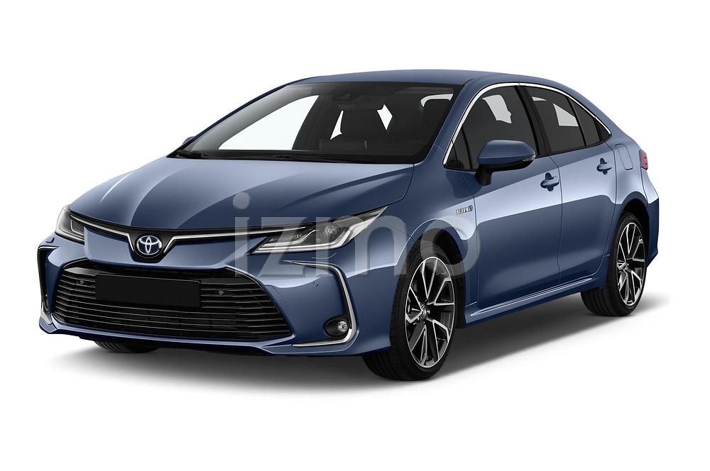 2019 Toyota Corolla  Premium 4 Door Sedan angular front stock photos of front three quarter view