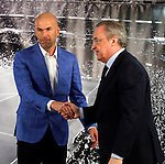 Zinedine Zidane (L) and Real Madrid´s President Florentino Perez during his presentation as Real Madrid´s new coach at Santiago Bernebeu stadium Madrid, Spain. January 04, 2016. (ALTERPHOTOS/B. Echavarri)