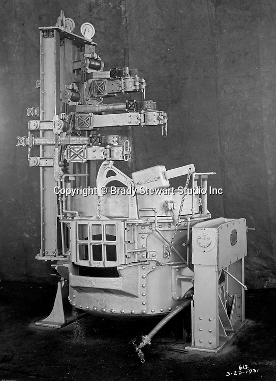 """Client: Swindell Dressler Corporation<br /> Ad Agency: George Ketchum Advertising<br /> Contact: George Ketchum<br /> Product: Swindell Dressler Electric Furnance<br /> Location: Swindell Dressler factory in Pittsburgh <br /> <br /> View of Swindell Dressler Electric Furnace. For this assignment, Brady Stewart used an Eastman Kodak Mod. 2-D View Camera.  All the Swindell negatives are 8""""x10"""" and still in great condition in 2020.<br /> <br /> Swindell Dressler International Company was based in Pittsburgh, Pennsylvania. The company was founded by Phillip Dressler in 1915 as American Dressler Tunnel Kilns, Inc.  In 1930, American Dressler Tunnel Kilns, Inc. merged with William Swindell and Brothers to form Swindell-Dressler Corporation. The Swindell brothers designed, built, and repaired metallurgical furnaces for the steel and aluminum industries. The new company offered extensive heat-treating capabilities to heavy industry worldwide."""
