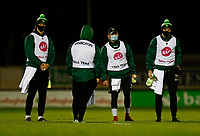 14th November 2020; Galway Sportsgrounds, Galway, Connacht, Ireland; Guinness Pro 14 Rugby, Connacht versus Scarlets; Connacht Ball Team get ready with towels and disinfectant spray ahead of kick off in The Sportsgrounds