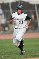 Casey Craig (32) of the Savannah Sand Gnats scores a run in the first inning at Grayson Stadium in Savannah, GA, Wednesday August 6, 2008  (Photo by Brian Westerholt / Four Seam Images)