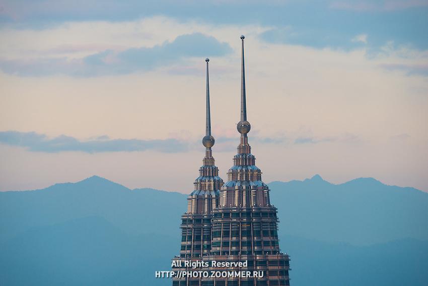 Peaks Of Petronas Twin Towers At Sunset, Malaysia