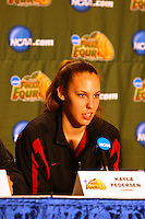 7 April 2008: Stanford Cardinal Kayla Pedersen during Stanford's press conference for the 2008 NCAA Division I Women's Basketball Final Four championship game at the St. Pete Times Forum Arena in Tampa Bay, FL.