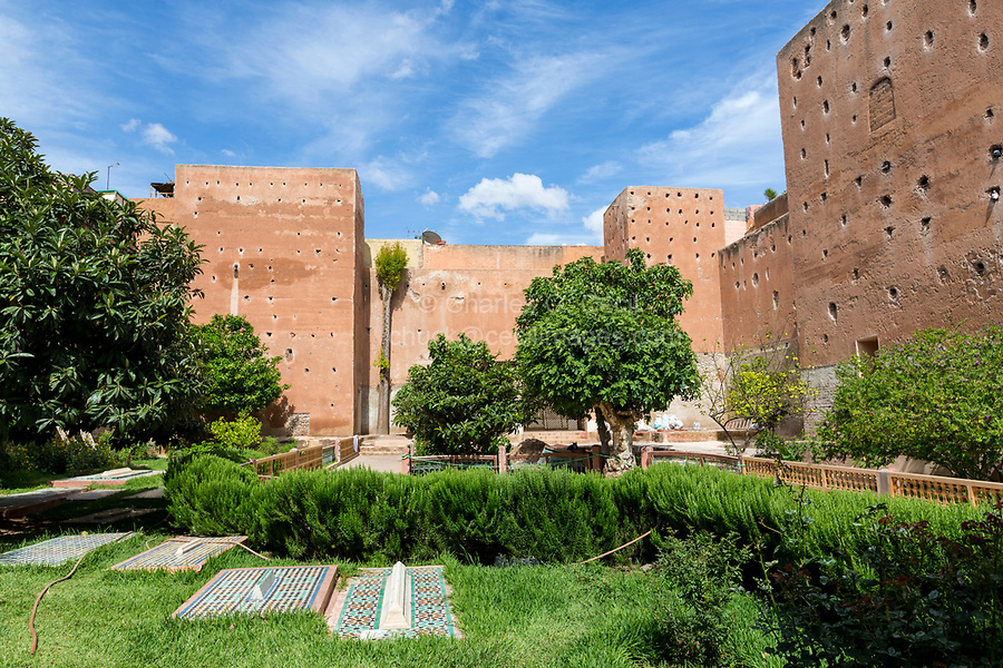 Marrakesh, Morocco.  Courtyard of the Saadian Tombs, 16th. Century.