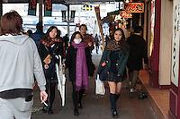 Le vaste Parc d'Ueno comprend un grand zoo, plusieurs temples (notamment le Bentendo et T?sh?g?) et des musées dont le Musée national de T?ky?. De nombreux sans-abris habitent également dans le parc..En contre-bas du parc se trouve un étang le Shinobazu no Ike (en) (????), ou les Tokyoites peuvent faire du pédalo. Ueno est proche d'Asakusa, que l'on peut rejoindre par la rue Kappabashi..En allant vers le sud et la gare d'Okachimachi se trouve, le long des voies de chemin de fer, le quartier commerçant Ameya yokochô (??????), ou simplement « Ameyoko »1. Ueno, Tokyo, Asia, Asie, Japon, Japan